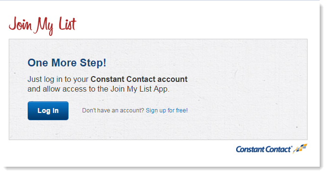 login to Constant Contact to add app