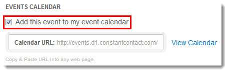 Add Event to the Event Calendar