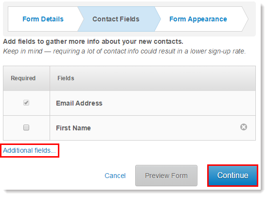 Contact Fields Sign-up Form