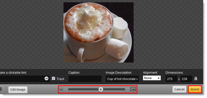 Image Size Slider and Insert Button