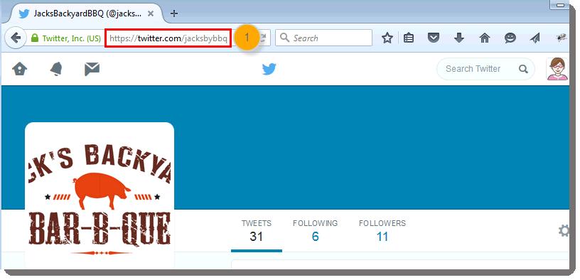 Twitter URL in Browswer