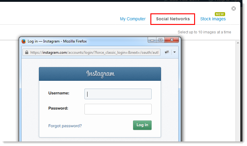Social Networks Tab and Instagram Login