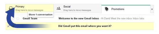 Drag the Email to the Primary Tab.
