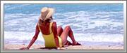 Woman on a Caribbean beach